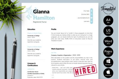 Nurse Resume Template for Microsoft Word & Apple Pages Gianna Hamilton