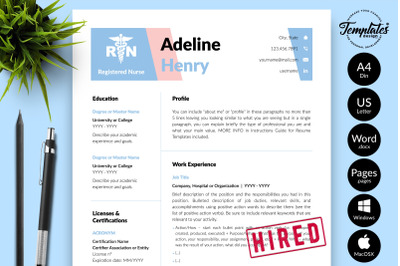 Nurse Resume Template for Microsoft Word & Apple Pages Adeline Henry