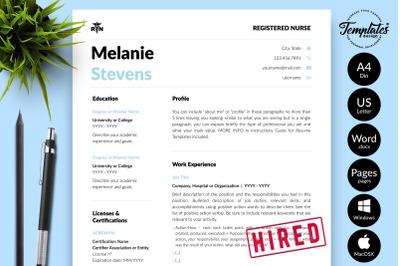 Nurse Resume Template for Microsoft Word & Apple Pages Melanie Stevens