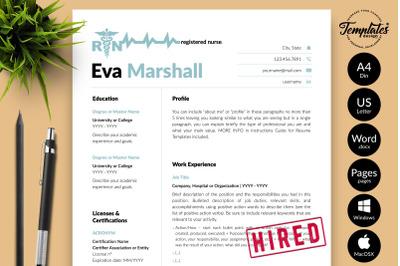 Nurse Resume CV Template for Microsoft Word & Apple Pages Eva Marshall