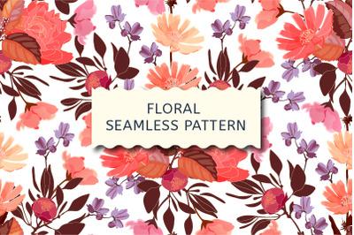 Art floral vector seamless pattern. Garden flowers.