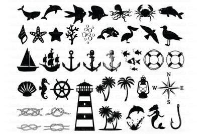 Nautical SVG,  Nautical Theme Bundle SVG Cut Files.