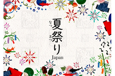 watercolor illustrations of japan summer festivals