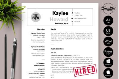 Nurse Resume Template for Microsoft Word & Apple Pages Kaylee Howard