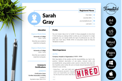 Nurse Resume CV Template for Microsoft Word & Apple Pages Sarah Gray