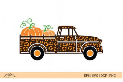 Cheetah Vintage Fall Pumpkin Truck SVG