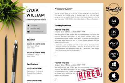 Teacher Resume Template for Microsoft Word & Apple Pages Lydia William