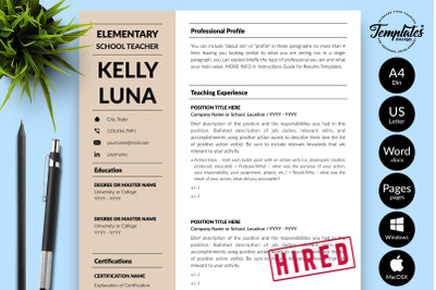 Teacher Resume CV Template for Microsoft Word & Apple Pages Kelly Luna