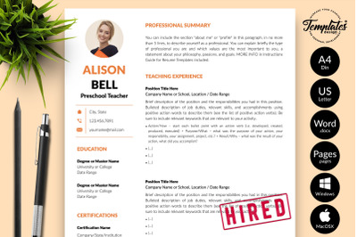 Teacher Resume Template for Microsoft Word & Apple Pages Alison Bell