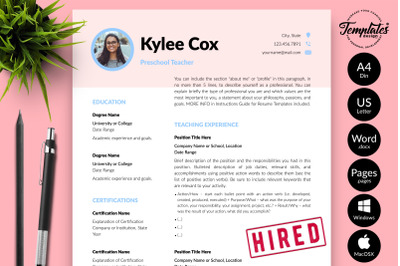 Teacher Resume CV Template for Microsoft Word & Apple Pages Kylie Cox