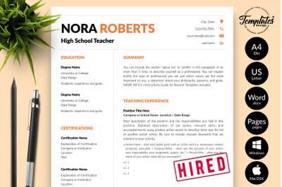 Teacher Resume Template for Microsoft Word & Apple Pages Nora Roberts