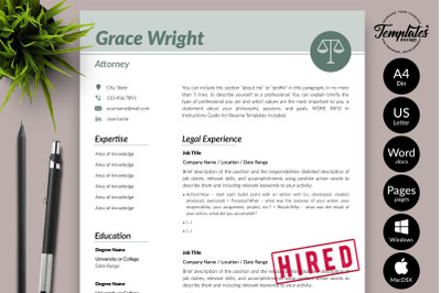 Legal Resume CV Template for Microsoft Word & Apple Pages Grace Wright