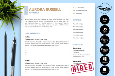 Legal Resume Template for Microsoft Word & Apple Pages Aurora Russell