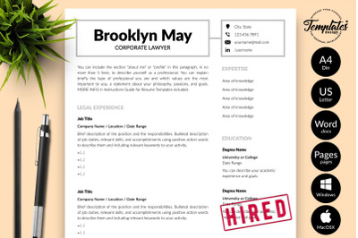 Legal Resume CV Template for Microsoft Word & Apple Pages Brooklyn May