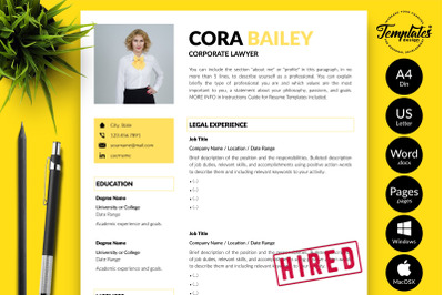 Legal Resume CV Template for Microsoft Word & Apple Pages Cora Bailey