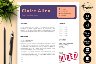Creative Resume Template for Microsoft Word & Apple Pages Claire Allen