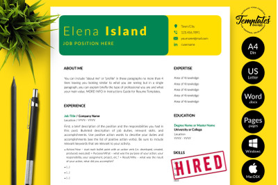 Creative Resume Template for Microsoft Word & Apple Pages Elena Island