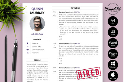 Modern Resume Template for Microsoft Word & Apple Pages Quinn Murray