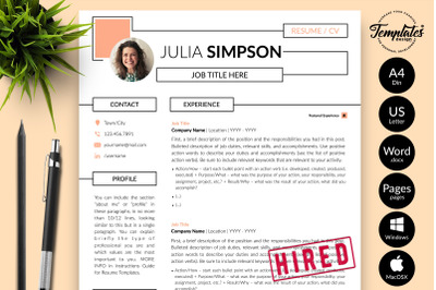 Creative Resume Sample for Microsoft Word & Apple Pages Julia Simpson