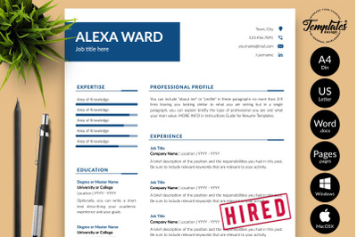 Simple Resume CV Template for Microsoft Word & Apple Pages Alexa Ward