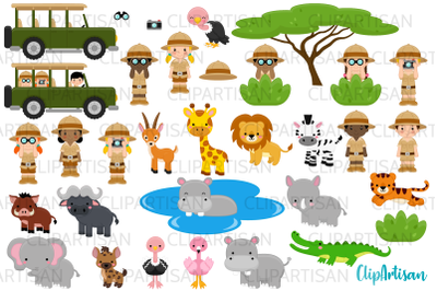 Safari Clipart, African Safari Tour, Cute Jungle Animals