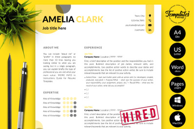 Creative Resume Template for Microsoft Word & Apple Pages Amelia Clark