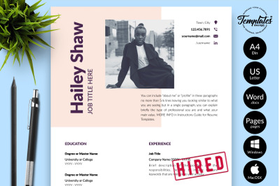 Modern Resume CV Template for Microsoft Word & Apple Pages Hailey Shaw