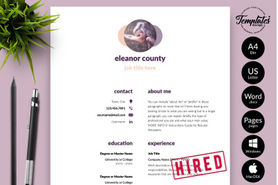 Simple Resume Template for Microsoft Word & Apple Pages Eleanor County