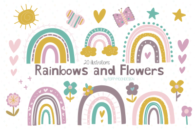 Rainbows and Flowers clipart