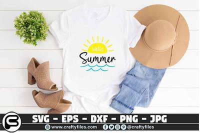 Hello summer SVG sunset SVG Cut file, Waves SVG, Beach time SVG