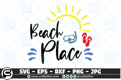 Beach Place SVG cut file, Sun SVG, Summer SVG, Flip flop SVG