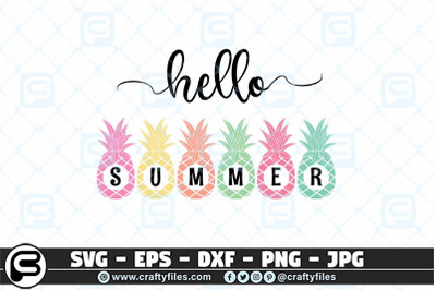 Hello summer SVG, Pineapple SVG, Beaching time SVG