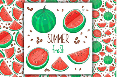 Watermelon Vector Clipart