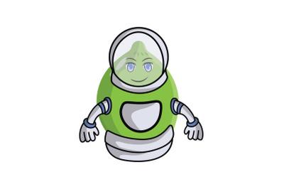 Lime Fruit Astronaut Cartoon Character
