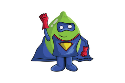 Lime Fruit Superhero Cartoon Character