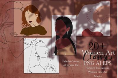 Women Art Classy | illustration, Line Art, Shapes