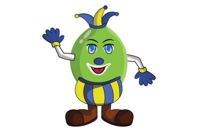 Lime Fruit Jester Cartoon Character