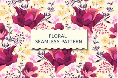 Vector seamless pattern. Garden roses.