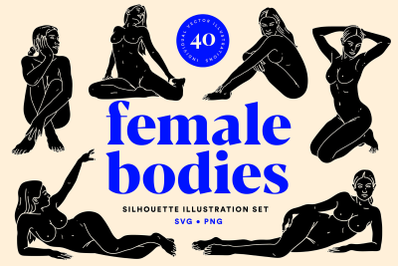 Female Bodies  Silhouette Illustration Set