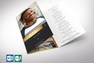 Remember Gold Funeral Program Tri-fold Word Publisher Template