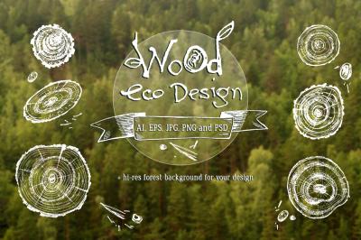 Wooden eco design. Vector wood slice
