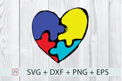 Autism Heart Puzzle Colorful Pieces