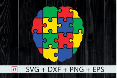 Autism Brain Puzzle Colorful