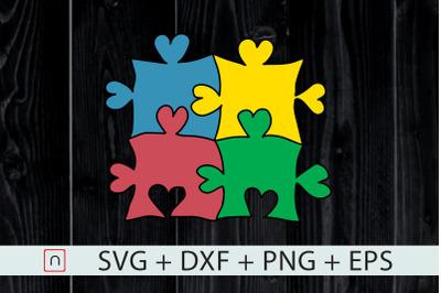 Heart Puzzle Autism Colorful