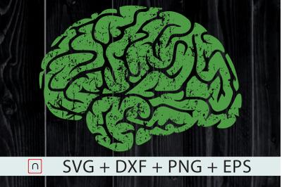 Mental Health Awareness Green Brain