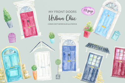 Watercolor Urban Front Door Illustration