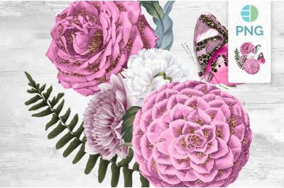 Pink Bouquet Glitter