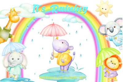 """Watercolor weather clipart: """"WEATHER CLIP ART"""" tropical animals, clipa"""