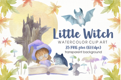 Little Witch and Cat. Halloween watercolor clip art