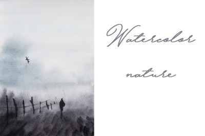 watercolor nature and landscape with lonely human and bird